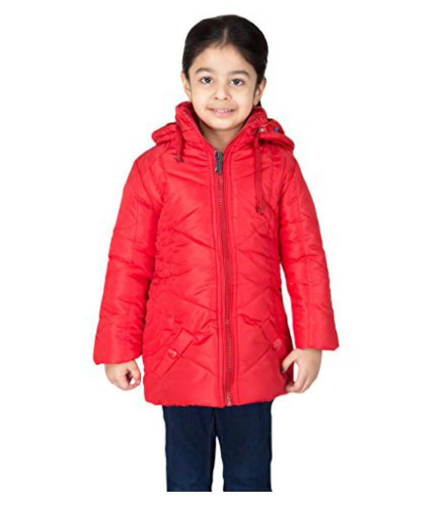 Asst Full Sleeve Hooded Regular Fit Polyester Solid Bomber Jacket for Girl's (9-10) Years