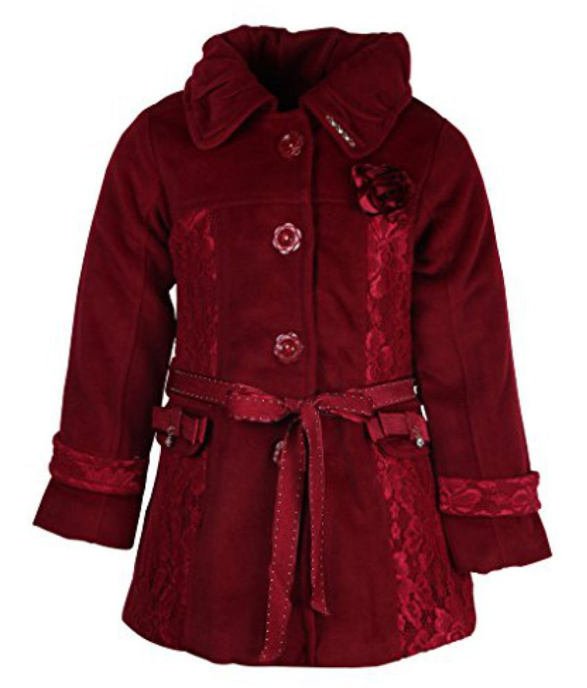 Cutecumber Girls Polyester Embellished Maroon Full Sleeve Jacket