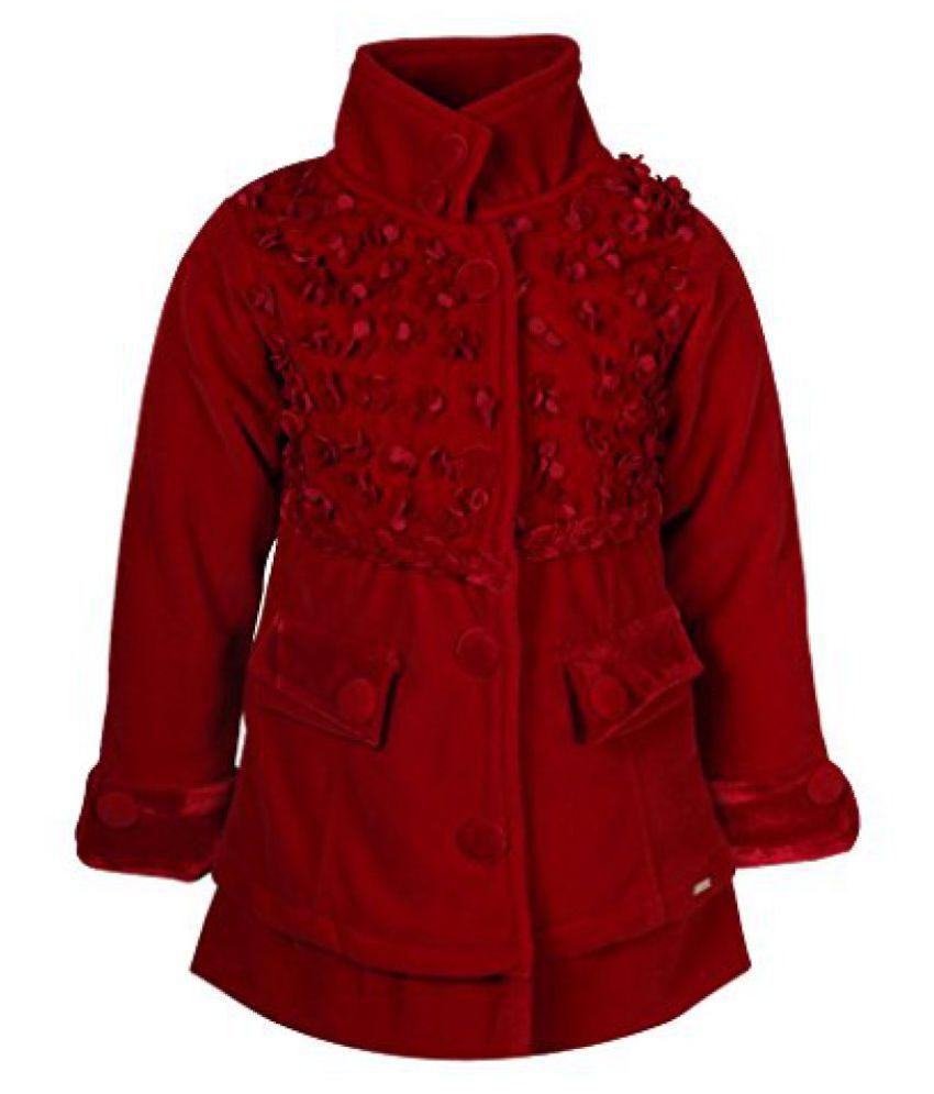 Cutecumber Girls Polyester Embellished Red Full Sleeve Jacket