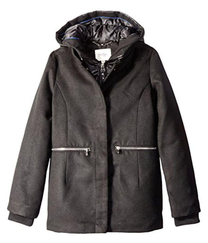 Jessica Simpson Big Girls Single Breasted Hooded Faux Wool Coat
