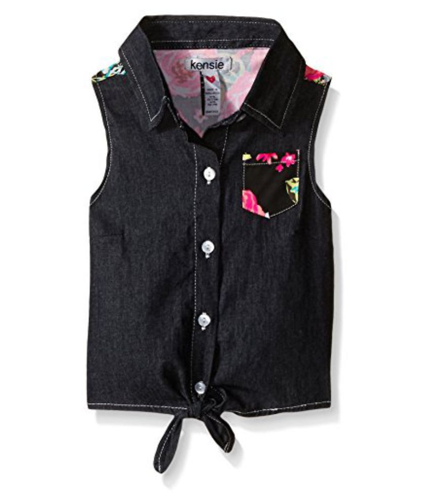 Kensie Big Girls' Denim and Printed Rayon Tie Front Sleeveless Shirt