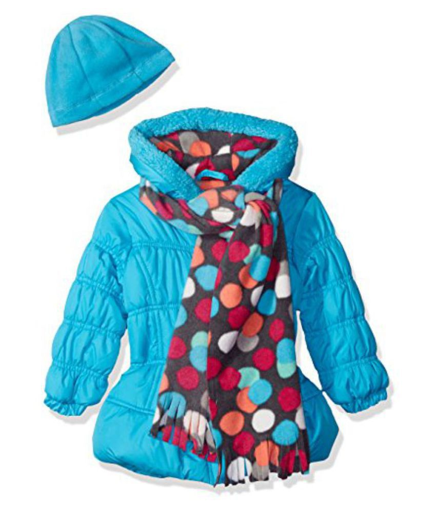 Pink Platinum Girls' Puffer Jacket with Multi Dots Lining and Accessories