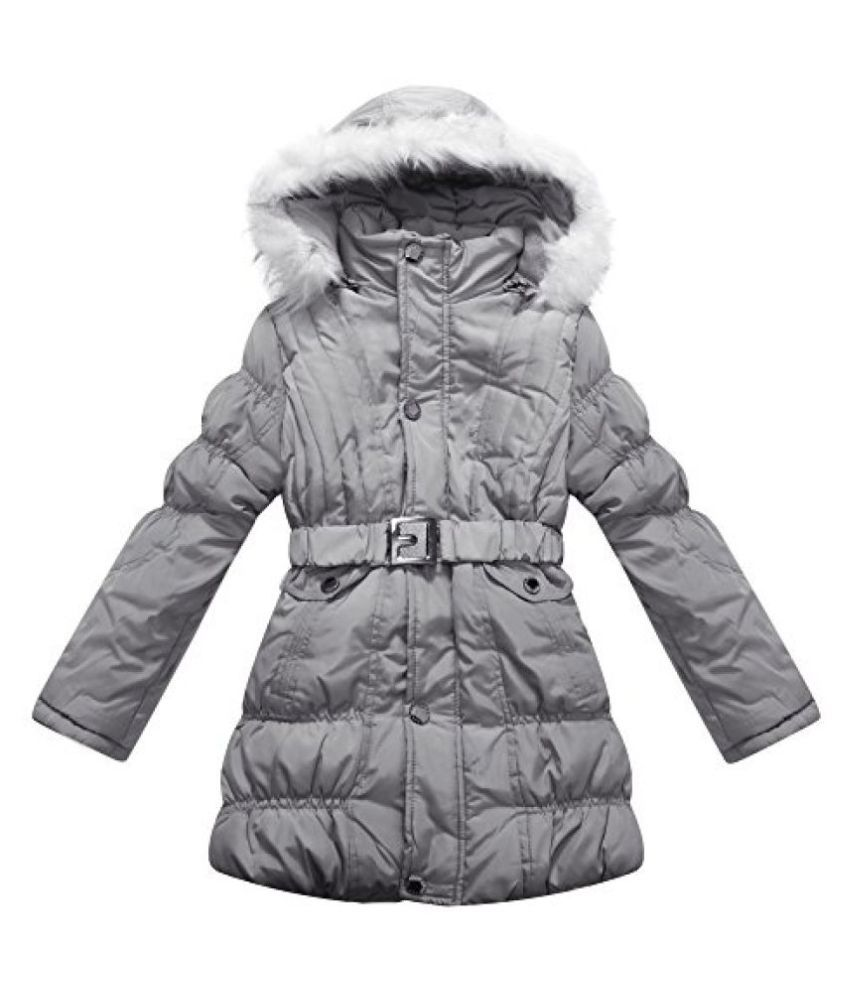 Richie House Big Girls' Padded Winter Jacket with Belt and Fur Hood RH0784