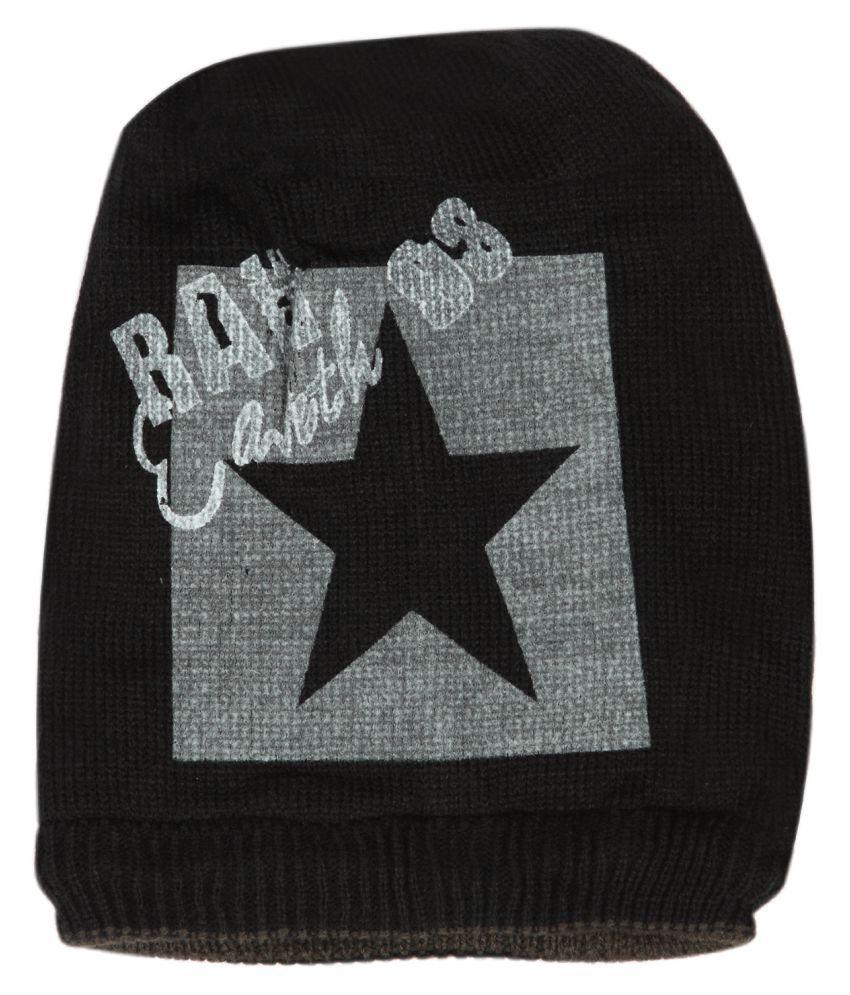 ILU Black Printed Wool Caps