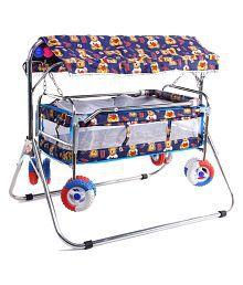 AdevWorld Baby Cradle Cum Cot Cum Stroller Bassinet ( Blue )