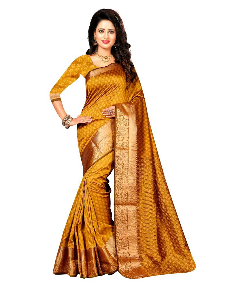 Brahmani Fabrics Yellow Cotton Saree