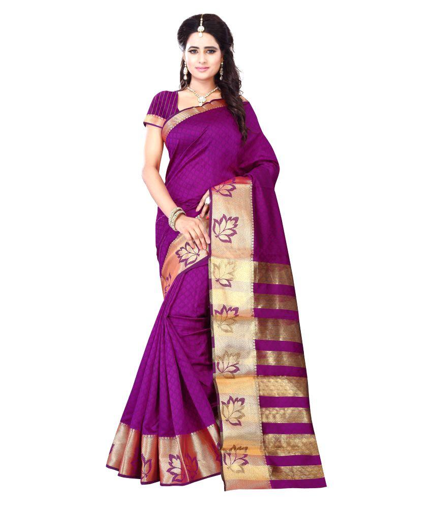 Fab Brand Purple Jacquard Saree