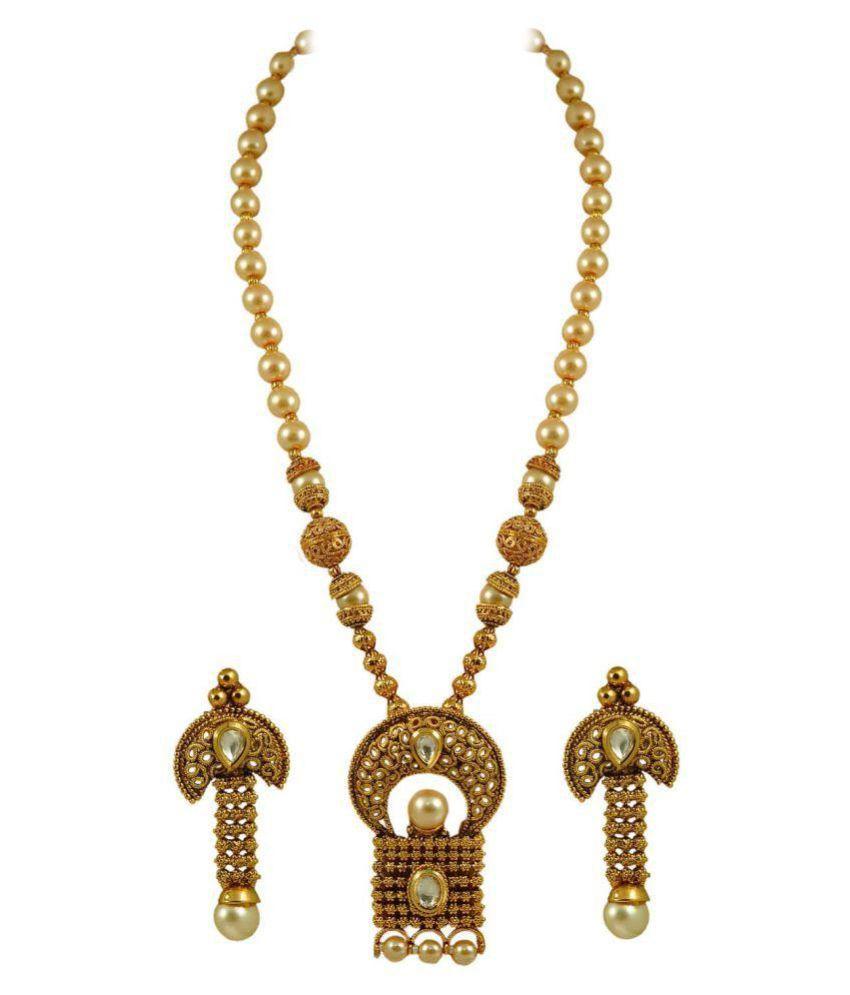 Maalyaa Golden Copper Necklace Set