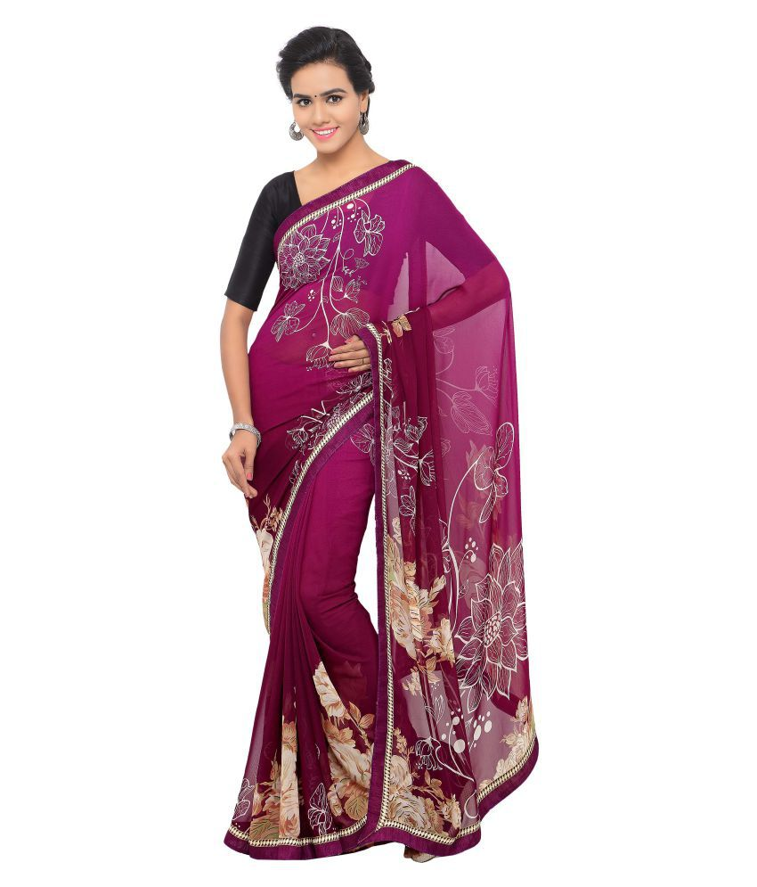 Anoha Purple Georgette Saree