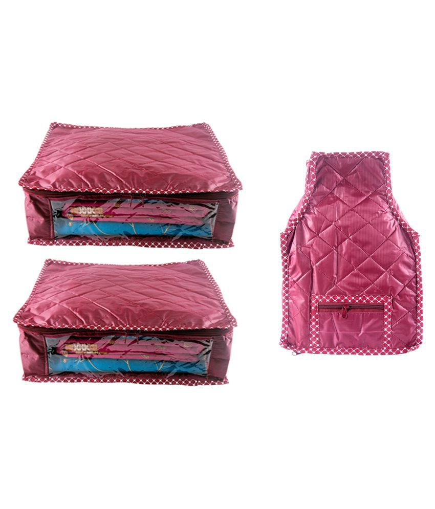 Annapurna Sales Maroon Saree Covers - 3 Pcs