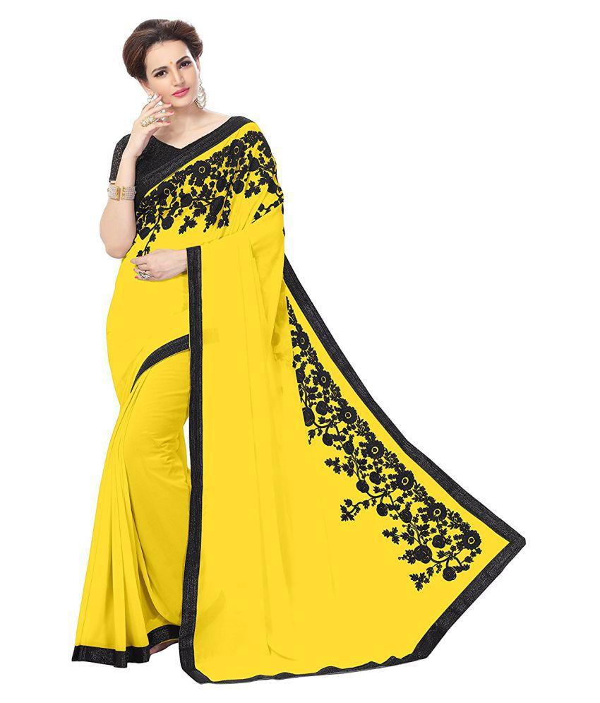 Shreeji Designer Yellow Georgette Saree