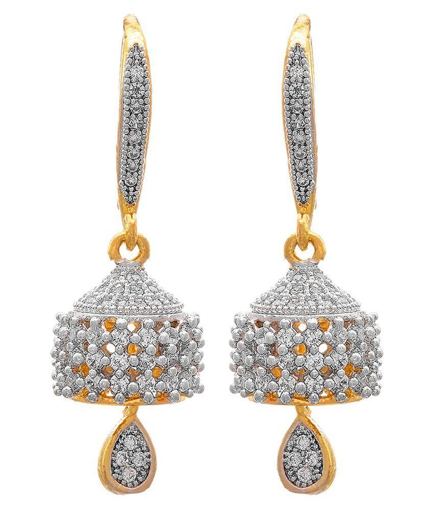 JFL - Jewellery For Less Gold Plated American Diamond Jhumkis
