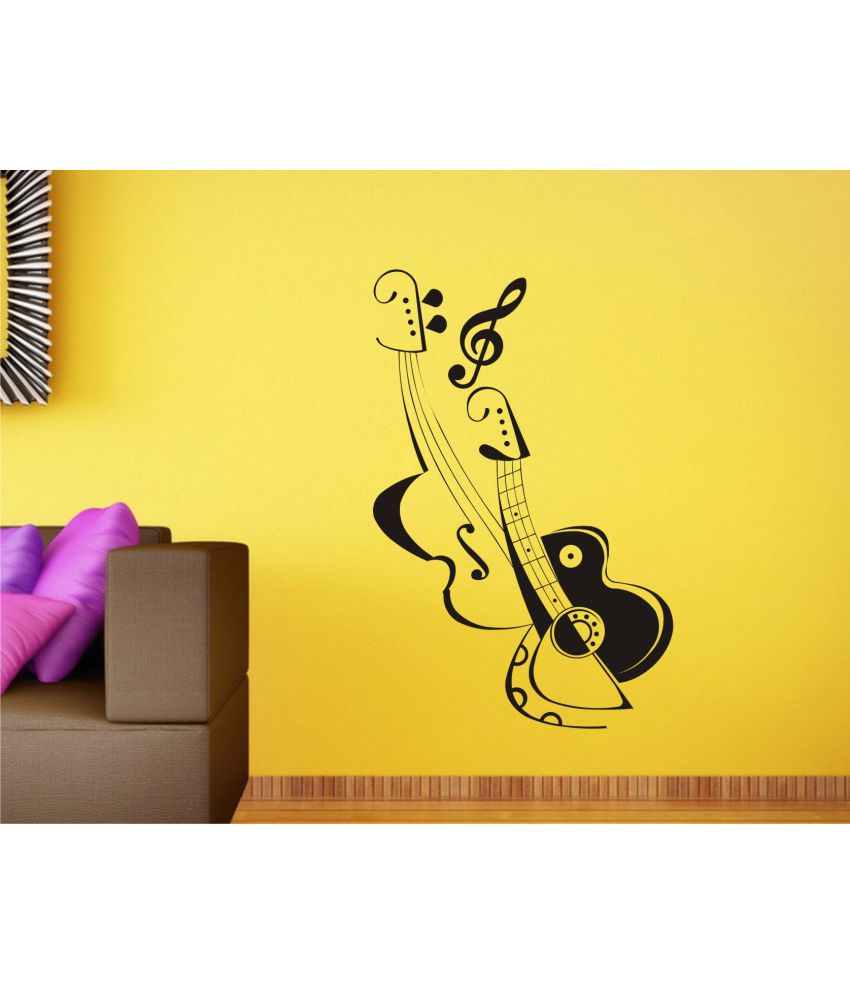 Wall Guru Music Note Wall Art Wall Decal Size(59*29)Cm Vinyl Black ...