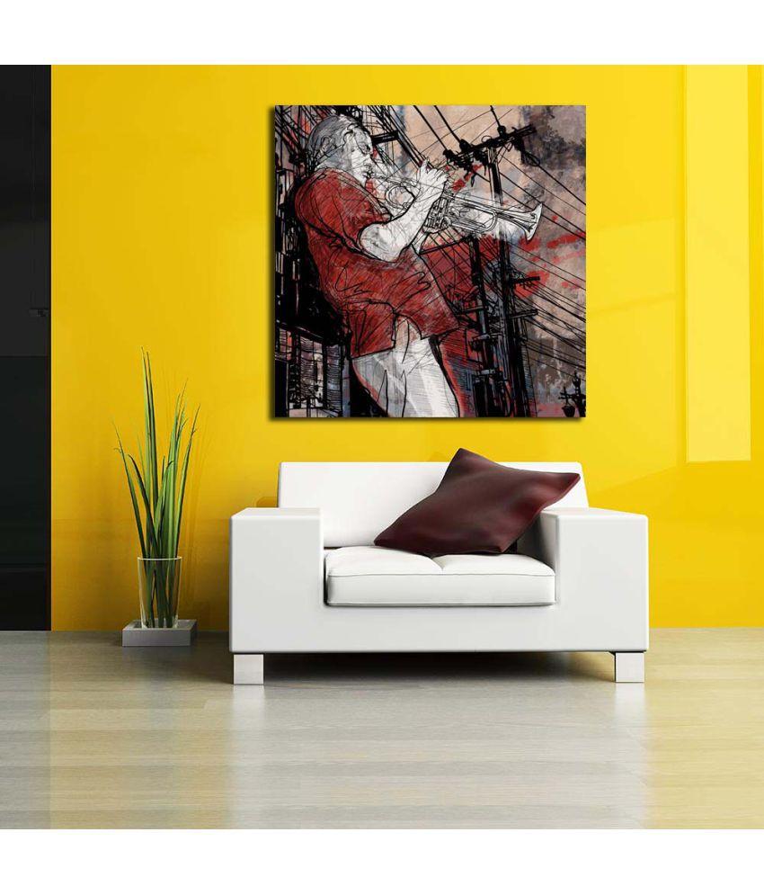 Pitaara Box Jazz Music Trumpet Musician PVC Vinyl Multicolour Wall ...