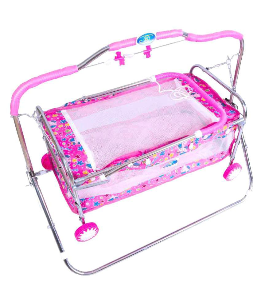 KGC Networks Pink Kids Multi Functional Baby Bassinet Cradle with Mosquito Net