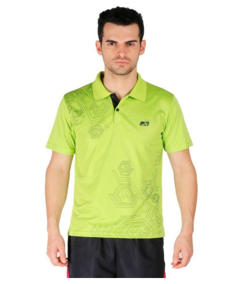 Vector X Printed Men's Polo Neck Green T-Shirt