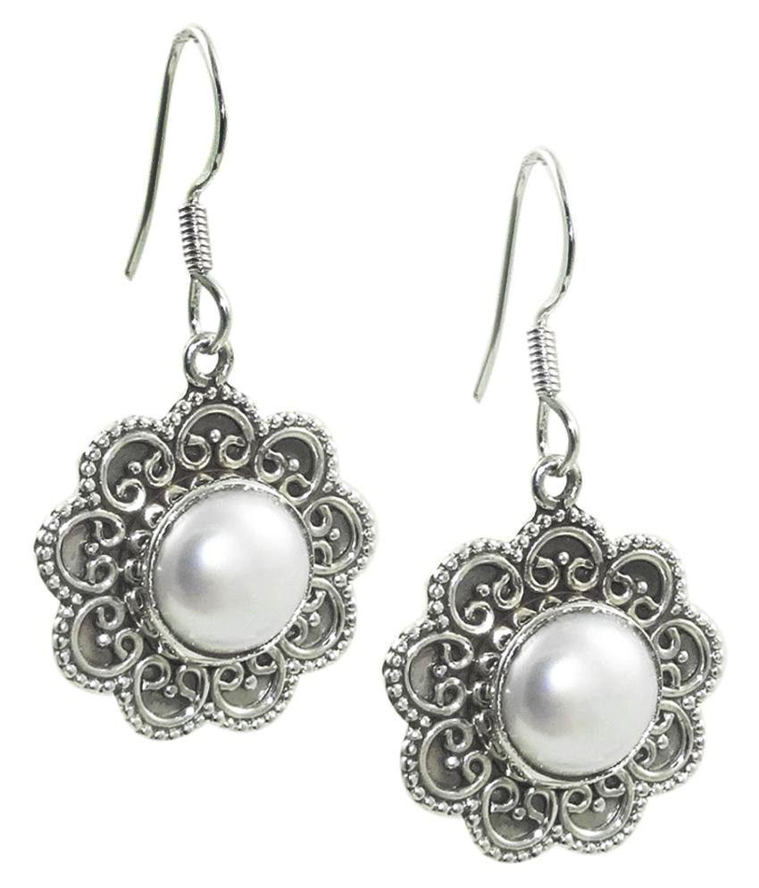 Elotic 92.5 Silver Pearl Drop Earrings