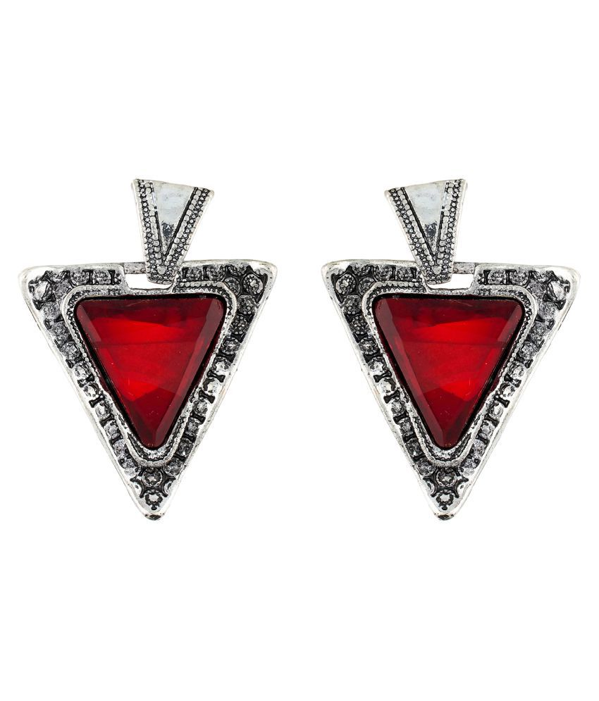 OSF Oxide Silver / Red Colour Triangle Shape Ear Hangings for Girls and Womens