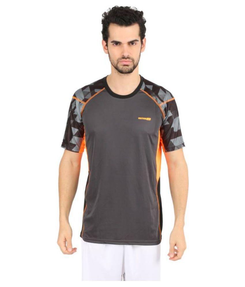 Vector X VTD-008-A Printed Men's Round Neck Grey, Orange T-Shirt