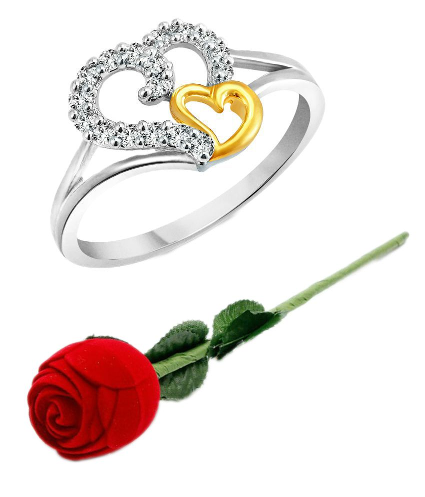 Vighnaharta Valentine Silver Couple Heart Cz Silver And Rhodium Plated Alloy Ring For Girls And Women With Fancy Velvet Rose Box