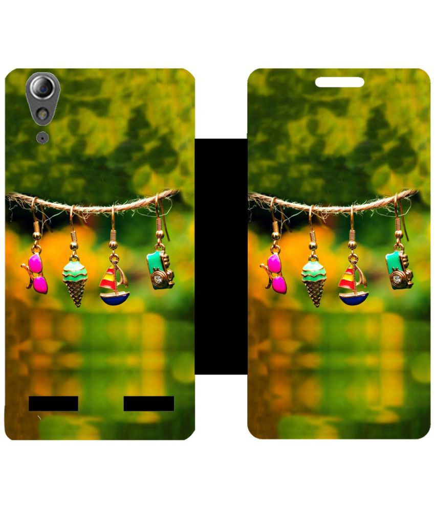 Lenovo A6000 Flip Cover by Skintice - Green