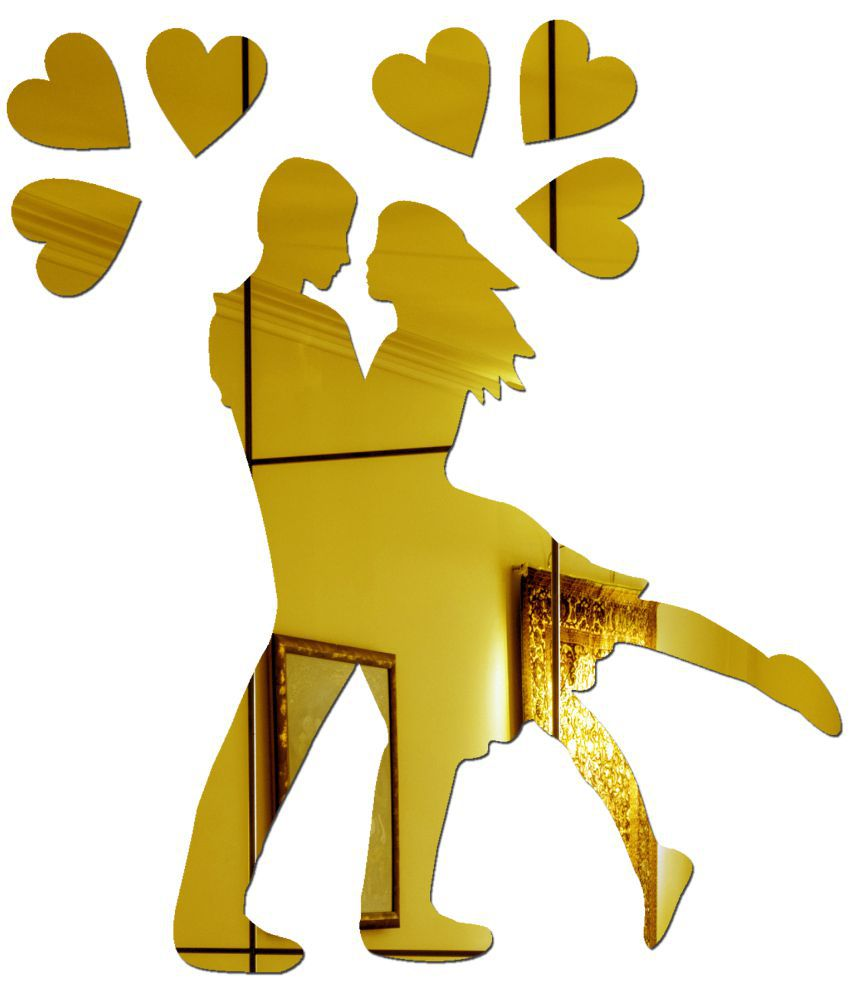 Sehaz Artworks Couple Acrylic Gold Wall Stickers Buy Sehaz