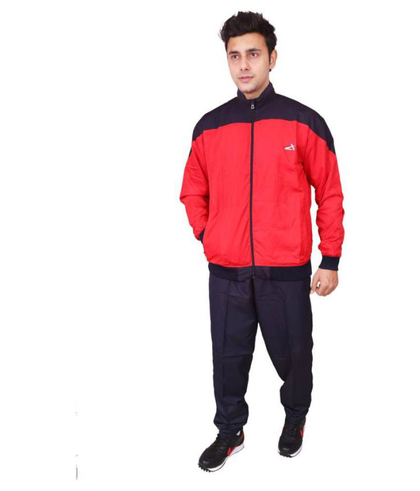 Vector X VTS-1000-A Red-Black Solid Men's Track Suit