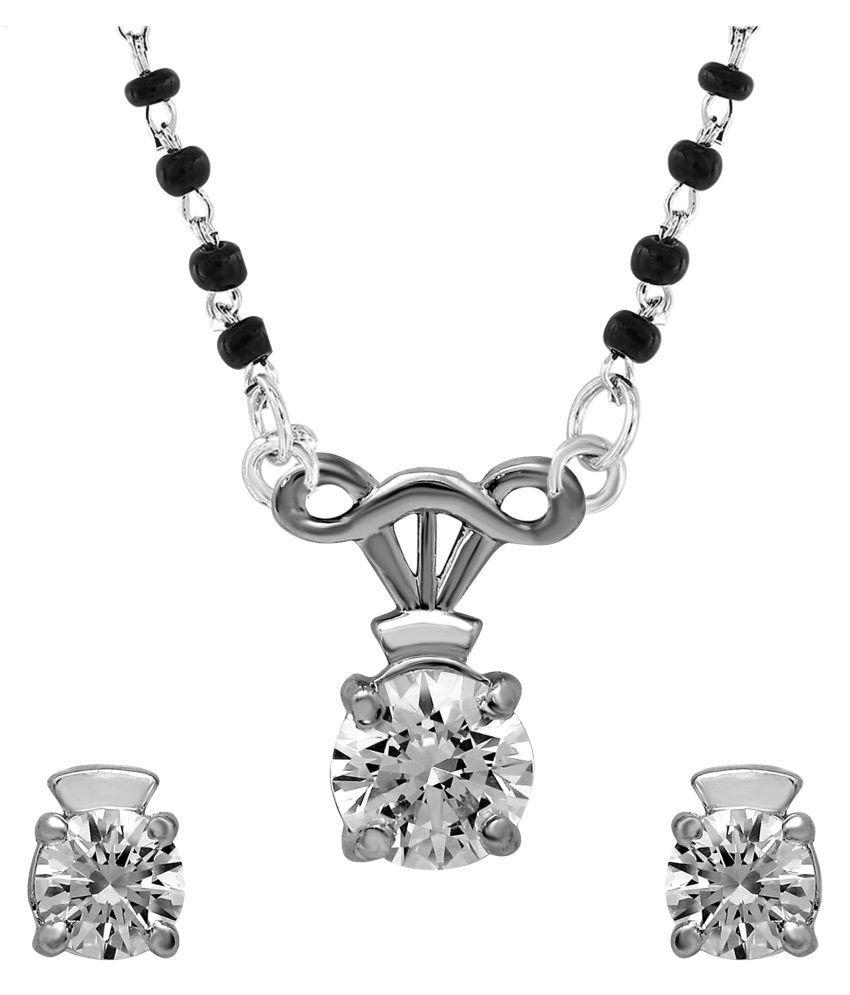 Shiyara Jewells 92.5 Silver Necklace Set