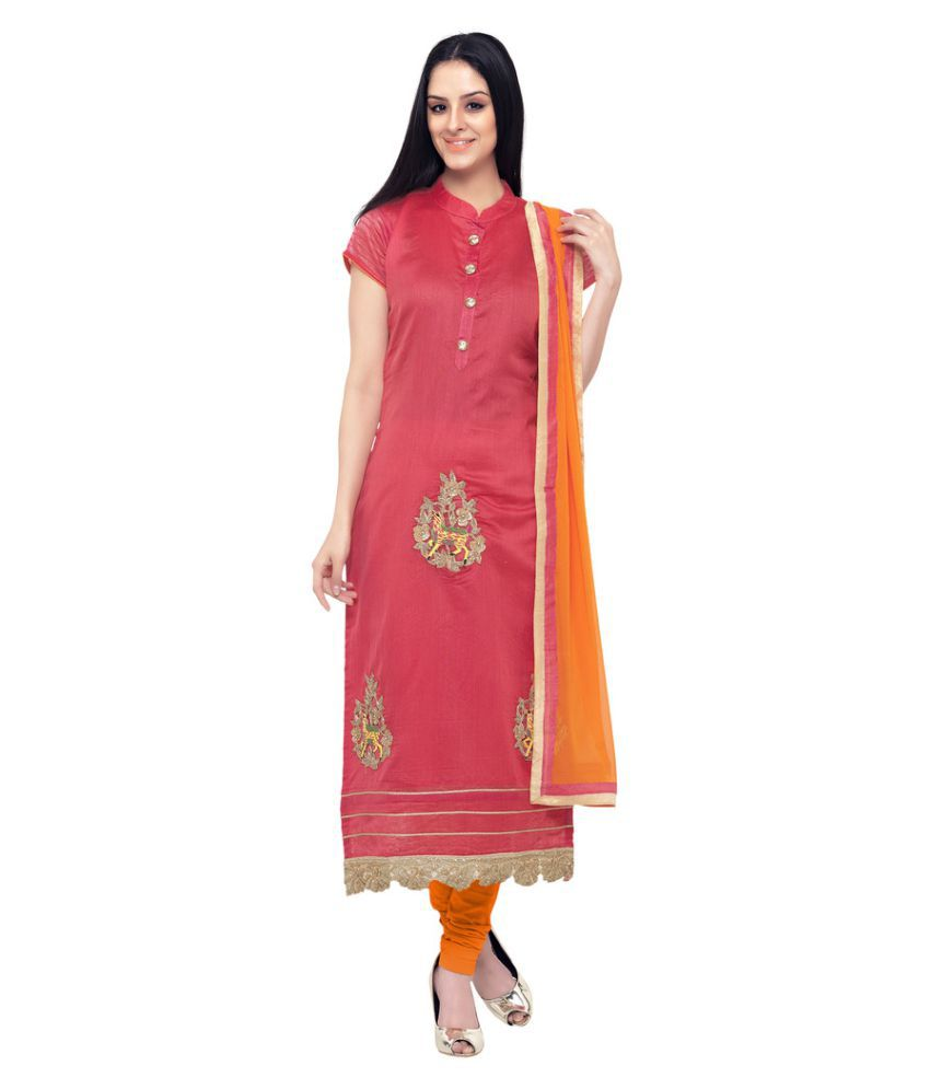 The Ethnic Chic Pink Chanderi Straight Stitched Suit