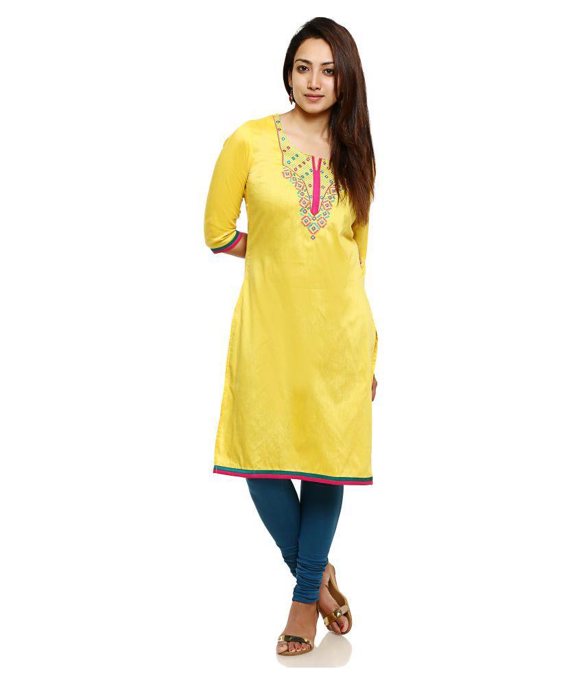 Aaboli Yellow Poly cotton Straight Kurti