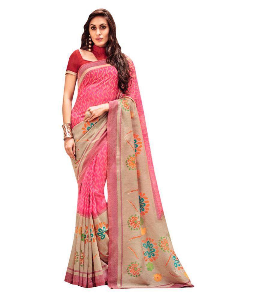 Attachover Services Multicoloured Silk Saree