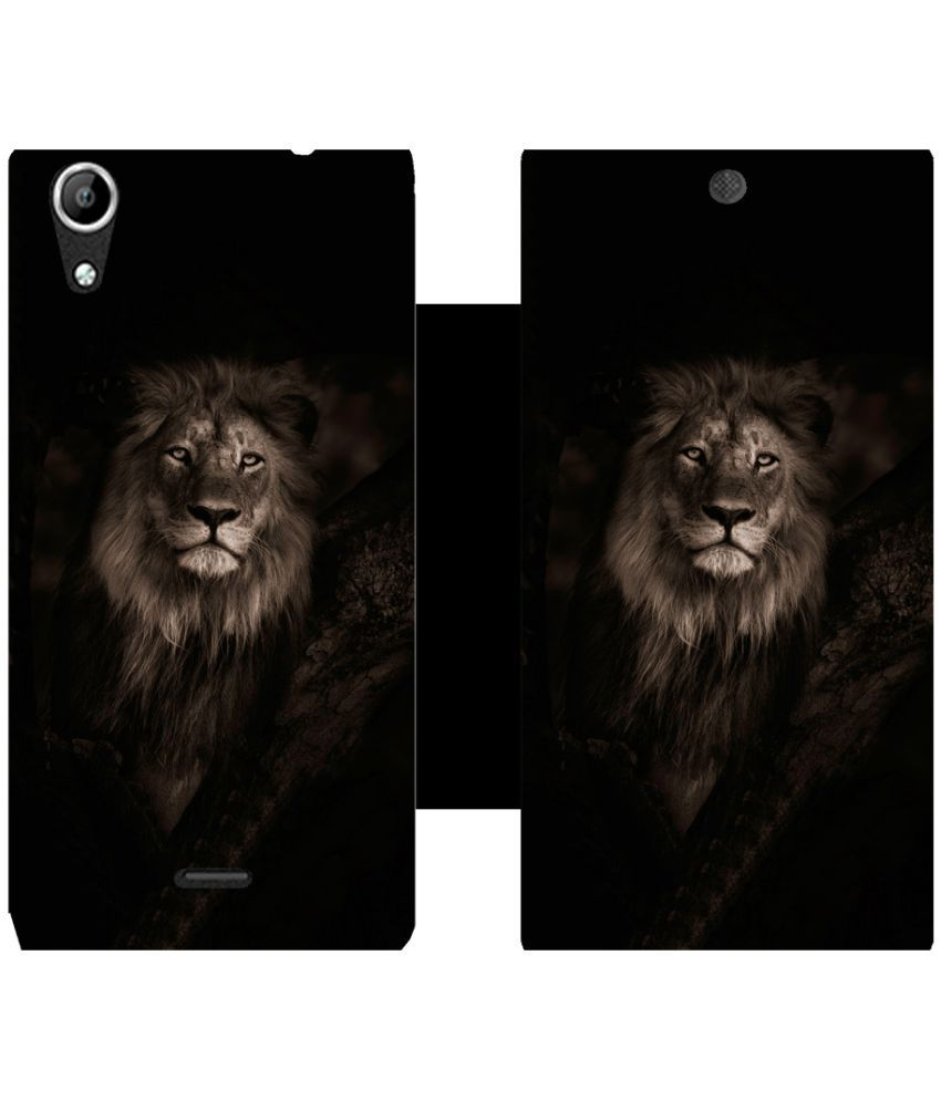 Micromax Canvas Selfie Flip Cover by Skintice - Black