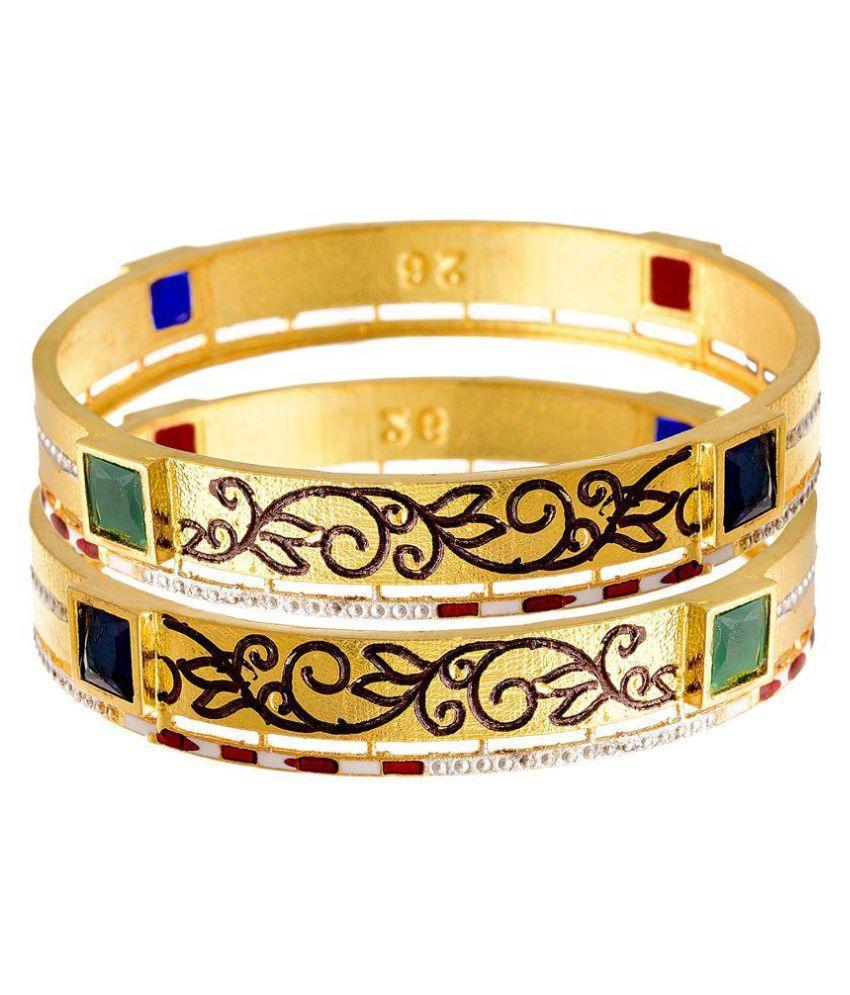 JFL - Traditional Ethnic One Gram Gold Plated Multicolour Sky Blue Stone Designer Bangle for Women & Girls
