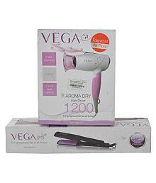 Vega Combo Of Steel & Plastic Vega Vhdh 9 Dryer & Hair Straightener, 9 cm x 6 cm x 6 cm, 2 Pieces