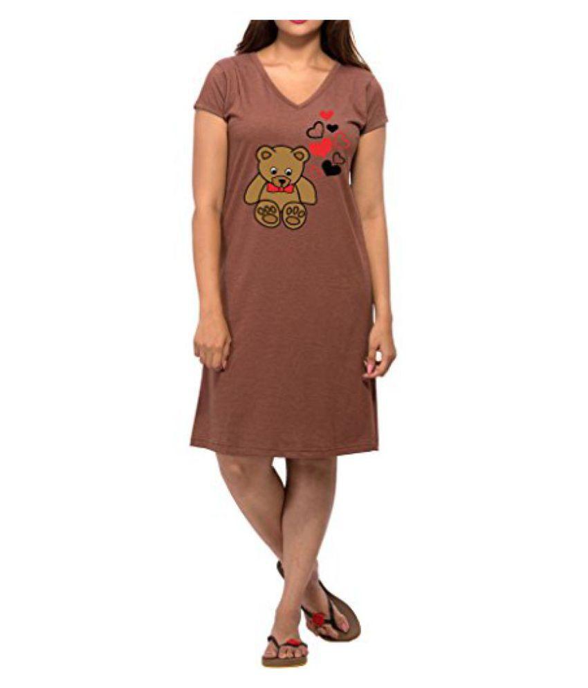 Clifton Melange Women's Long Top Nightwear-Teddy -Brown