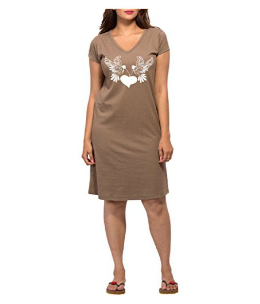 Clifton Melange Womens Long Top Nightwear-Two Doves -Walnut