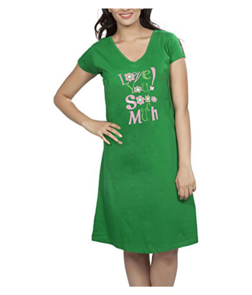 Clifton Women's Long Top Nightwear-Love You So Much -Dark Green