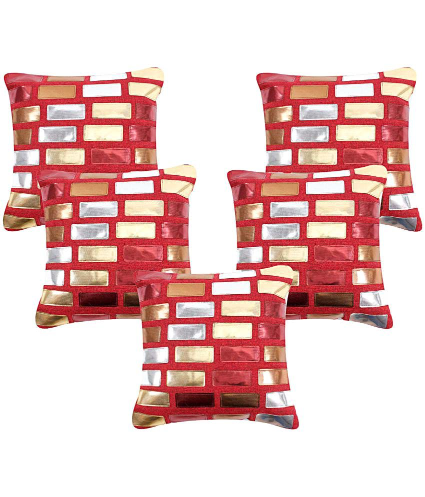 Kingly Set of 5 Polyester Cushion Covers 40X40 cm (16X16)