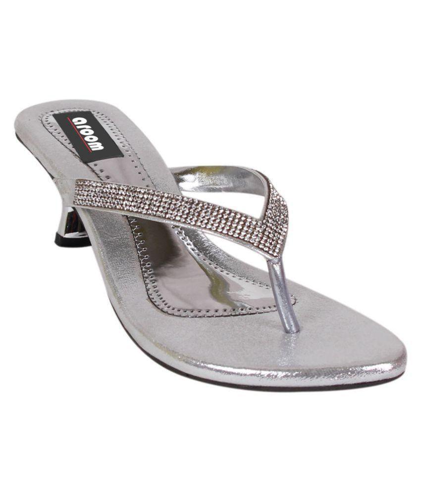 Aroom Silver Block Heels