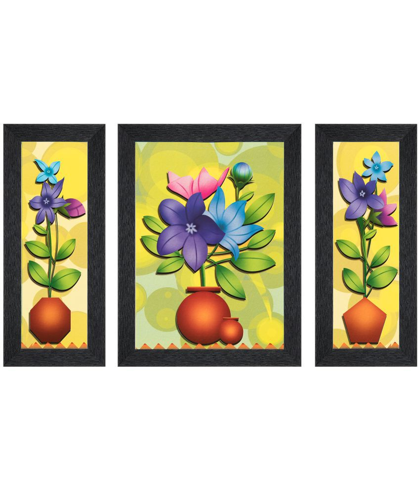 JAF Multicolor Matte Flower painting  MDF Painting With Frame Set of 3