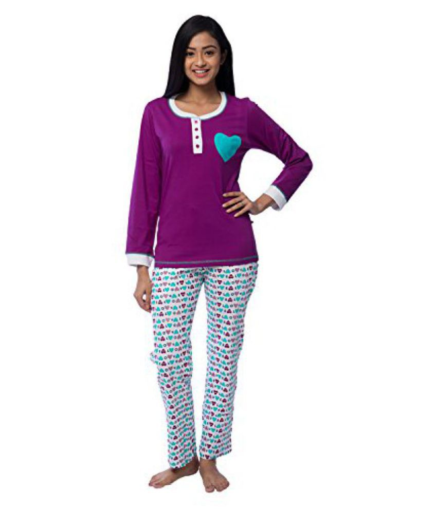 Nite Flite Purple Love Pyjama set For Women