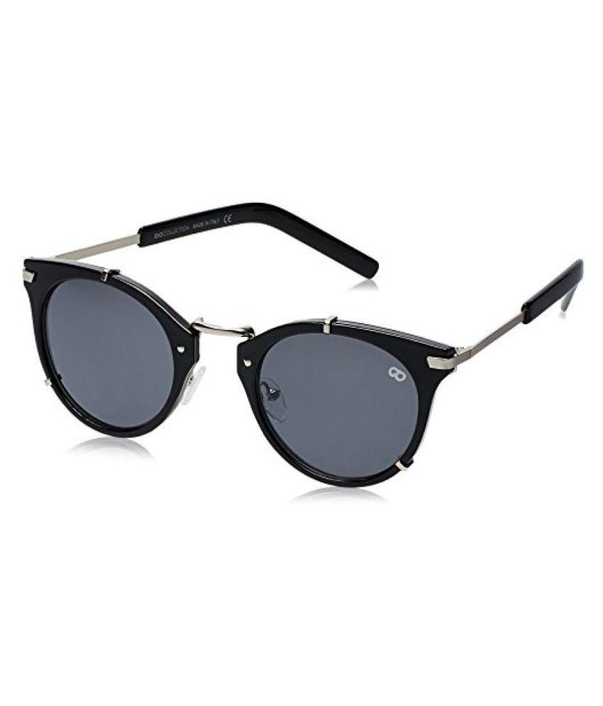 Gio Collection UV Protected Round Unisex Sunglasses - (VS134 C.3 BK|55|Black Color)