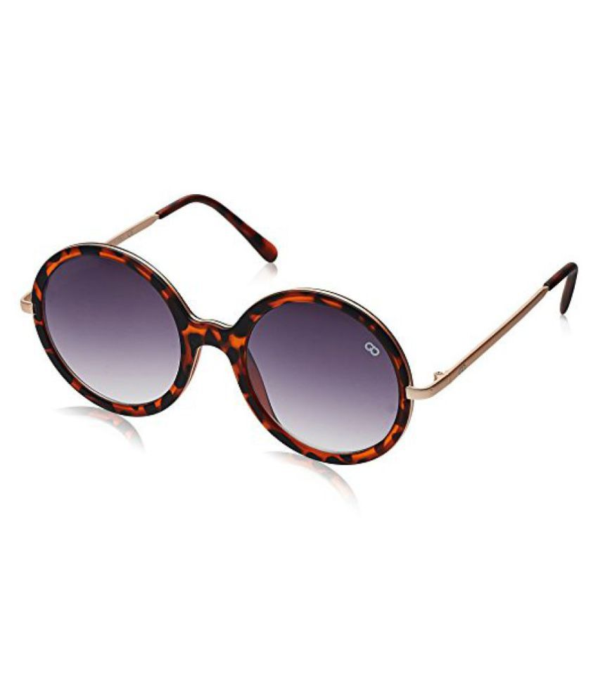 Gio Collection UV Protected Round Unisex Sunglasses - (VS121 C.2 BR 57 Brown Color)