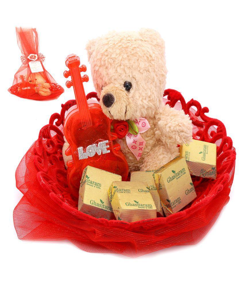 Ghasitaram Gifts Valentine Chocolates Chocolate Basket Teddy With