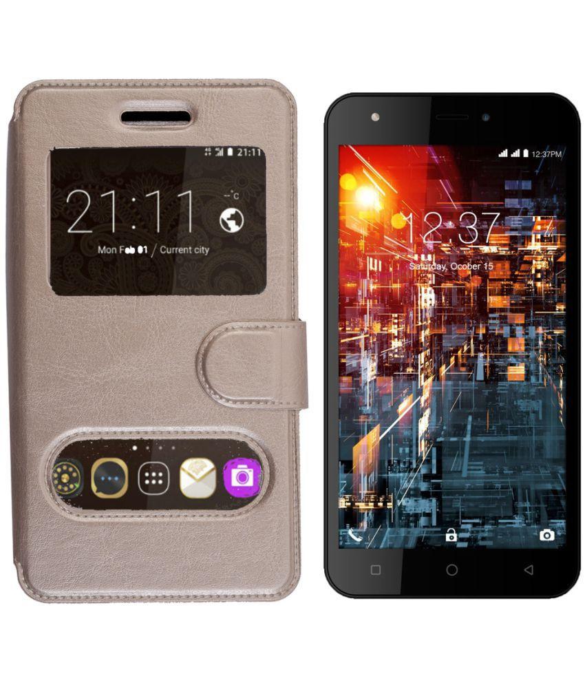 Asus Zenfone Max ZC550KL Flip Cover by Shopme - Golden
