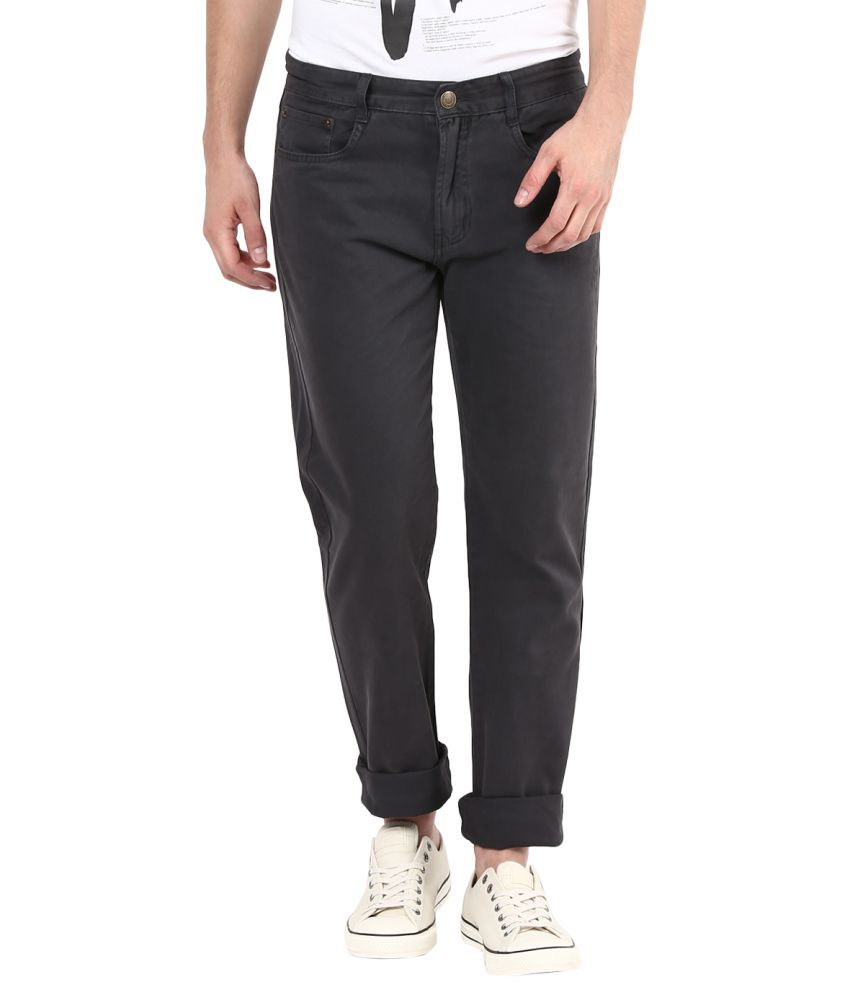 Fox Black Regular Flat Trousers