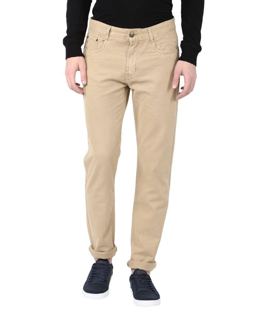 Fox Khaki Slim -Fit Flat Trousers