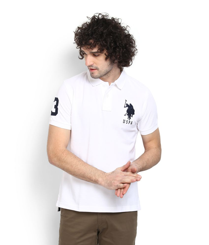 U S Polo Assn White Regular Fit Polo T Shirt Buy U S Polo Assn