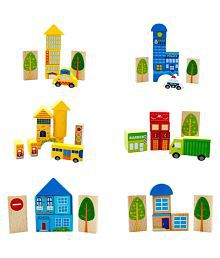 Emob Multicolour Wooden City Blocks Puzzle Learning Game For Toddler - 62 Pieces
