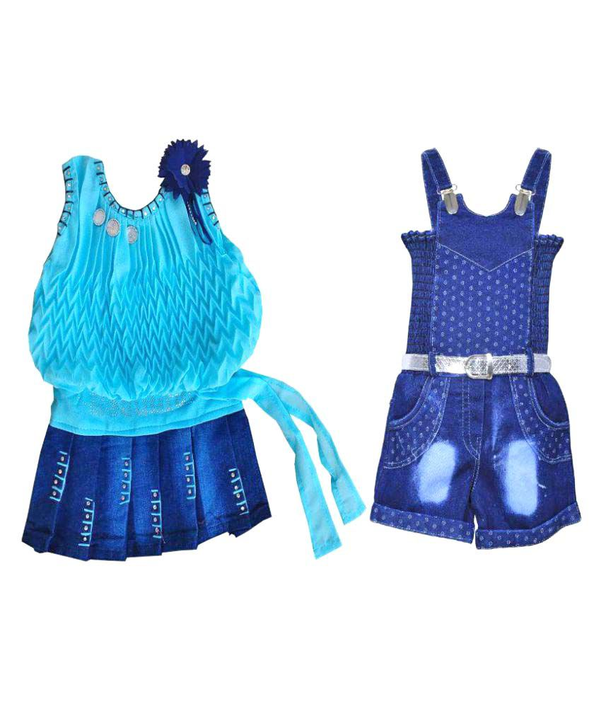 Benkils Frock Dress With Jeans Dungaree Jumpsuit Clothing Set For 2